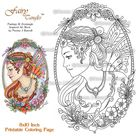 Fairy and Flowers Fairy Tangles Printable Coloring Book Pages & Sheets by Norma J Burnell Fairies to Color Adult Coloring Digital Coloring