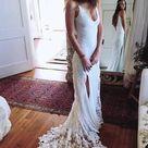 Romantic Boho Backless Lace Mermaid Elegant White Wedding Dress