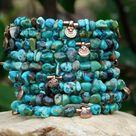 Turquoise Boho Bangle with Mini Baule Charms
