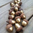 Golden Acorns - so cute for fall! Definitely going to be painting some of these to use as a decorative filler!  #fall #decor #DIY #finallyfall #thankful #caseycaitlin