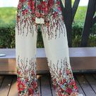 Womens Wide Leg Palazzo Pants Boho Clothing Bohochic Gypsy Style Flowers in White Trousers