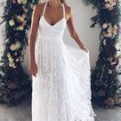 Charming Simple Ivory Lace A Line Court Train Spaghetti Straps Backless Side Slit Cheap Beach Wedding Dresses Bridal Dresses W159