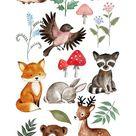 Watercolor Woodland clipart, watercolour woodland clip art, Fox, Deer, Raccoon, Hedgehog, Rabbit, Bird, Bear, Chipmunk digital clip art.