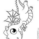 Coloriage bebe dragon dans le ciel