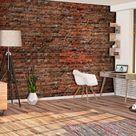 VLIES FOTOTAPETE Stein Ziegelsteine rot braun Ziegel 3D TAPETE Wohnzimmer XXL • EUR 8,09
