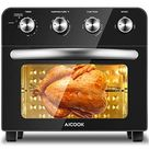 AICOOK Air Fryer Toaster Oven, 24 QT Convection Toaster Oven Combo, 10-in-1 Large Countertop Toaster Oven,1700W Oilless Knob Control Electric Oven, 6 Accessories & Recipes Included, Silver - Black