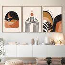 Mid Century Modern Wall Art Print Set of 3 Neutral Abstract | Etsy