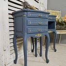 Pair of Blue & Gold Vintage French Bedside Tables - Free UK Delivery