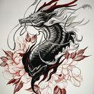 Эскиз тату дракон и цветы   Блог про татуировки pavuk.ink