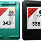 338 Schwarz 343 Farbe Wiederaufbereitetes Druckerpatronen für HP Photosmart 2575