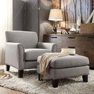 HomeVance Remmington Arm Chair & Ottoman 2-piece Set, Grey
