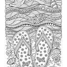 Flip Flops on Beach Coloring Page • FREE Printable eBook