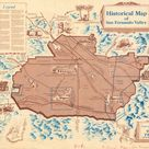 This vintage map of the Valley romanticizes its early mission days