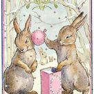 PINK PUFF - GLITTER CHRISTMAS CARD