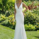Style 11018 Crepe Fit and Flare with Plunging V Neck   Sweetheart Gowns