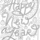 Happy New Year Doodle Colouring Page