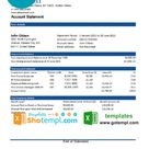 USA State Street Corporation bank statement template in Excel and PDF format