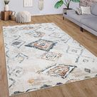Modern Area Rug Ethno Style with Colorful Boho Patterns in Cream, Size:5'3