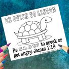 James 1:19 Kids Coloring Page