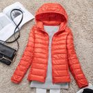 Women Short Down Jacket Spring Autumn Female Light Down Coats Slim Solid Long Sleeve Hooded Parkas Plus Size Clothes SYJ103 - Orange / XXL(Fit 60-65kg) / China