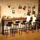 Modern Wood Metal High Bar Table Simple Home Coffee Bar Table Against The Wall Strip Side High Bar  BM510 01