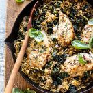 One Skillet Goat Cheese Stuffed Chicken and Orzo. - Half Baked Harvest
