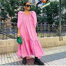 H&M PINK POPLIN DRESS W/PUFF SLEEVES