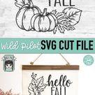 Hello Fall SVG Cut File, Pumpkin Wreath SVG, Thanksgiving (1361703) | SVGs | Design Bundles