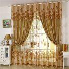 Moderne Gardine Gelb Blätter Jacquard Design im Wohnzimmer