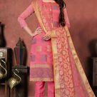 Indian Wear Woven Art Silk Cerise Pink Trouser Suit RM 269