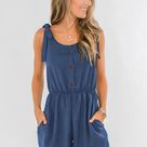 Summer Blue Tie Sleeve Buttons Pocketed Cutie Romper   Blue / XL