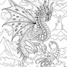 Dragons  Printable Adult Coloring Page from Favoreads | Etsy
