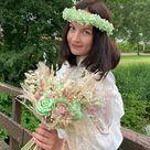 Mint Pink Bridal Bouquet/Dried flower Wedding Bouquet/Bridesmaids Bouquets/Mint Boutonnieres/Pastel