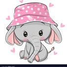 Cute elephant in panama hat isolated on a white vector image on VectorStock