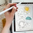 Weather Coloring Pages PDF, Digital Instant Download, Print and iPad Procreate Compatible, Activity