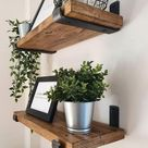 Rustic shelf hand crafted using reclaimed timber and industrial steel metal brackets 22cm depth x 3.3cm thickness / Farmhouse Vintage UK
