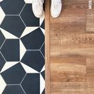 Cement tiles and wood floor transition   Mosaic Factory