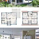 Einfamilienhaus Neubau modern mit Satteldach & Gaube bauen - Haus Grundriss offen, Fertighaus 180 qm