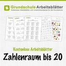Zahlenraum bis 20 - Kostenlose Arbeitsblätter