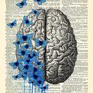 Brain Human Anatomy Art Print Blue Butterflies Poster Anatomical Brain Anatomy Brain Poster,Vintage Human Brain Wall Decor Gift for Man  628