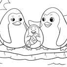 Ausmalbilder Tiere - Pinguin Familie