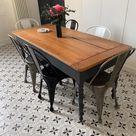 Table de ferme ancienne restaurée - grand tiroir et tablette - pi