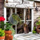 Rustic shed reveal with potting shed garden sign and potting bench!