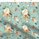 Bohemian Flowers Fabric -  Western Autumn Light Dry Green By Shopcabin - Boho Floral Fashion Cotton Fabric By The Yard With Spoonflower