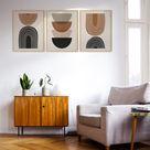 Mid Century Modern Wall Art Prints Boho Prints Set Of 3 Brown   Etsy