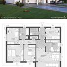 Bungalow Haus modern mit Walmdach bauen / Fertighaus Winkelbungalow Grundriss 5 Zimmer, 130 qm gross