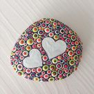 Polka dot Painted heart stone, love gift, Fairy Garden Gift  Decoration Painted rock Beachstone, Christmas or Valentines gift