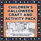 Children's Halloween Craft and Activity Pack, Print a Trick or Treat Game, Word Search, Fun Decorations, Printable Paper Washi Tape and Card