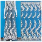 1yard off white handmade 3D flowers on mesh embroidered lace African Net Lace for wedding dress lace fabric 130cm width