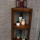 Corner Teak Wood Bath Spa Shower Stool Corner Three Shelf Storage Fully Assembled